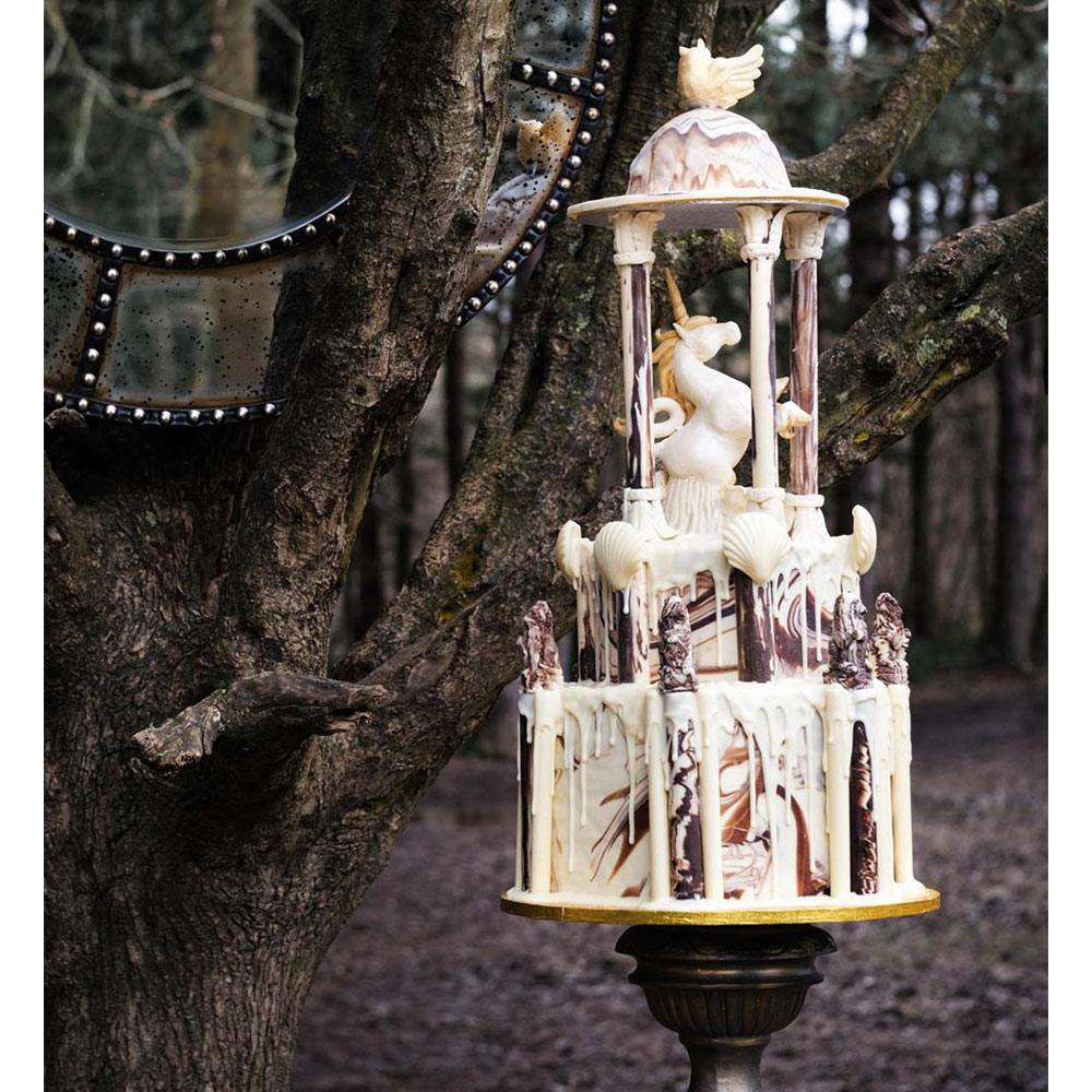 extravagant wedding cake made from chocolate
