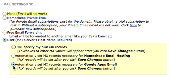 Automatically set MX records necessary for Google Apps Email radio button