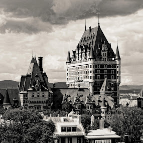 Château Frontenac, Quebec City, Canada by Daniel Gaudin - Buildings & Architecture Architectural Detail ( building, black and white, art, historical, photography,  )