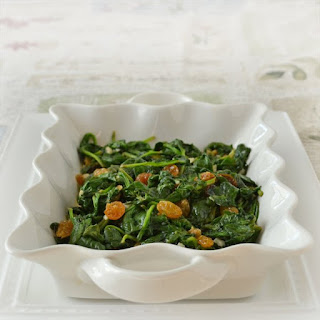 Wilted Spinach with Garlic and Raisins.