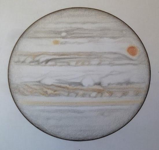 Photo: Jupiter le 17-18 avril 2017, entre 1h35 HL (haut du dessin) et 2h25 (bas du dessin). W2=214° pour SEB. T406 à 350X et 470X en bino, seeing moyen.