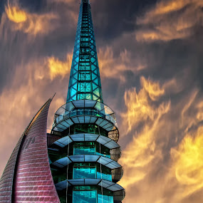 Swan Bell Tower by Loredana  Smith - Travel Locations Landmarks ( clouds, building, perth, visit, attraction, bell, tower, sky, tiles, australia, glass, swan, high, tall, design, night, lights )