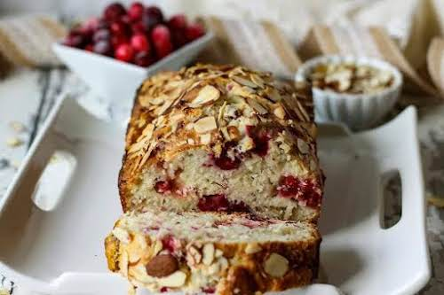 """Almond-Cranberry Quick Bread""""Cranberry and almond flavoring are wonderful together, especially for Thanksgiving..."""
