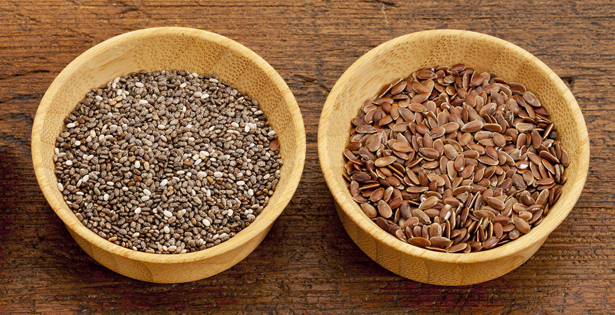 Flax seeds and chia seeds.