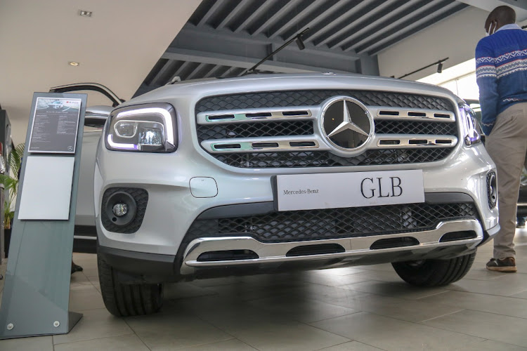 A close-up of the newly-launched Mercedes Benz GLB 250 4matic model compact SUV at the DT Dobie Showroom along Uhuru Highway on September 3, 2020