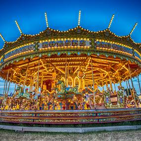 Hoppings Merry Go Round by Davey T - City,  Street & Park  Amusement Parks ( lights, funfair, merry go round, hoppings, evening, fair )