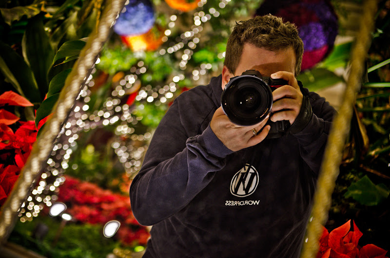 Photo: Self portrait in a mirrored decoration inside the Wynn at Christmastime