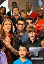 """Photo: HOLLYWOOD - FEBRUARY 01:  Singers Celine Dion, Joe Jonas, Justin Bieber and others perform at the """"We Are The World 25 Years for Haiti"""" recording session held at Jim Henson Studios on February 1, 2010 in Hollywood, California.  (Photo by Kevin Mazur/WireImage)"""