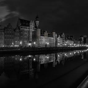 Motlawa river by David Guest - Black & White Buildings & Architecture ( motlawa, gdansk, crane, green gate, poland )