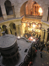 Photo: This is the view from the upper balconies in the Church of the Holy Resurrection looking down on the patriarchal liturgy. Directly below is the tomb (being used as the proskomide and outer chapel of the angels being used as the altar) and the faithful gathered outside.