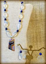 Photo: #167 CRYSTAL WATERS ~ БЛИСКІТ ВОДИ Copper enamel pendant, lapis lazuli, moonstone, glass, 14K gold vermeil set  * Available at OSEREDOK BOUTIQUE, Winnipeg, MB