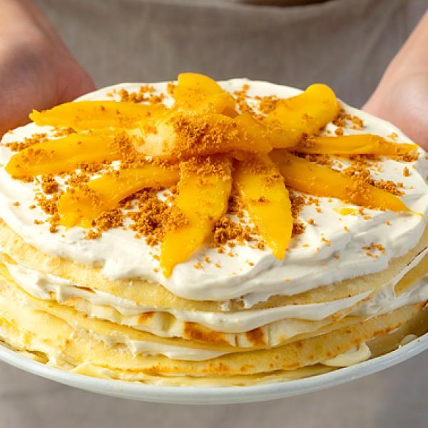 family desserts creamy mango graham crepe cake