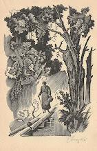 """Photo: Grafika ze sceną pieszej wędrówki św. Andrzeja Boboli jako """"Apostoła Pińszczyzny"""" po bezdrożach Polesia. Drzeworyt Edwarda Kuczyńskiego (1905 – 1958)  o wymiarach 11 x 15.5 cm, sygnowany ołówkiem w prawym dolnym rogu. Rycina była ilustracją do opowiadania """"W puszczy"""" w książce Zofii Kossak-Szczuckiej pt. """"Szaleńcy Boży"""" -  wydanie ALBERTINUM 1947 r."""
