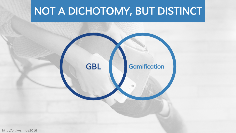 GBL and gamification are not a dichotomy, but distinct.