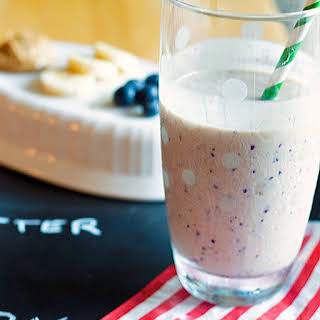 Peanut Butter Banana Blueberry Smoothie.