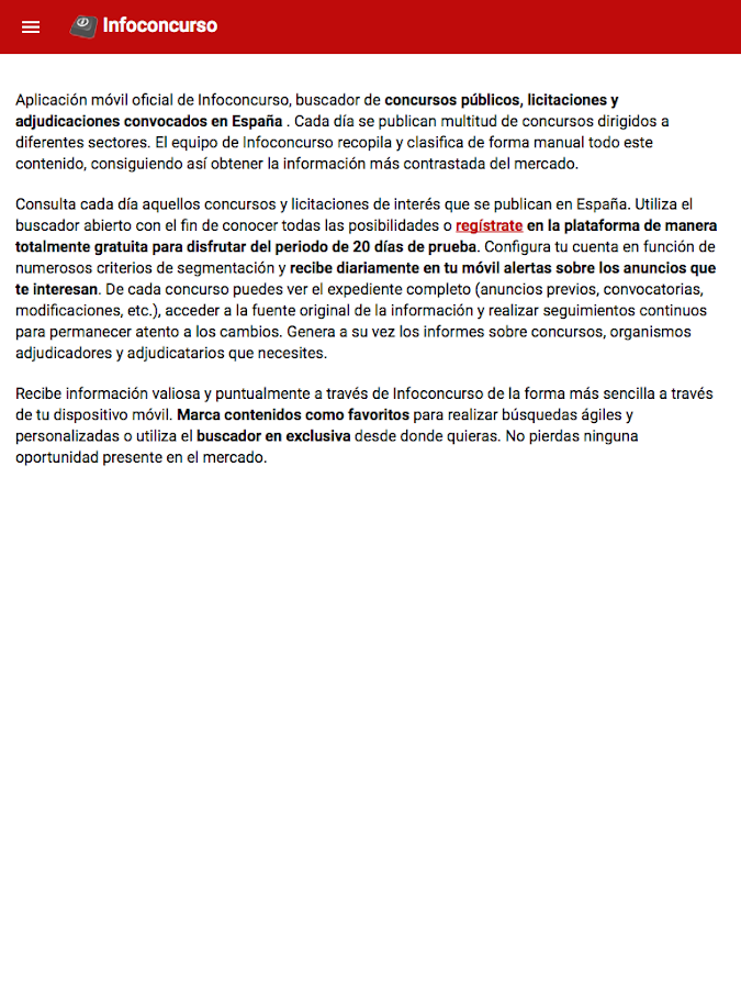 Infoconcurso- screenshot