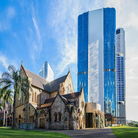The old and the new by Mick McKean - Buildings & Architecture Places of Worship ( building, starburst, plants, stone, architecture, palms, material, places of worship, modern, sunburst, palm tree, materials, age, sunflare, cathedral,  )