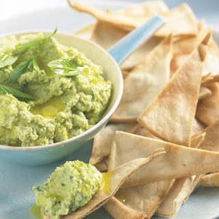 Fava Bean and Feta Dip with Pita Chips.
