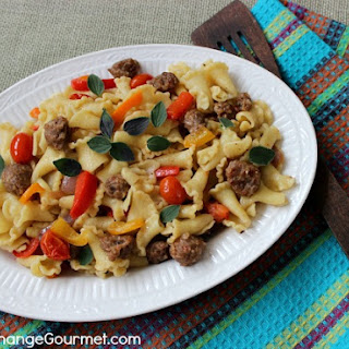 Campanelle with Italian Sausage, Peppers and Tomatoes