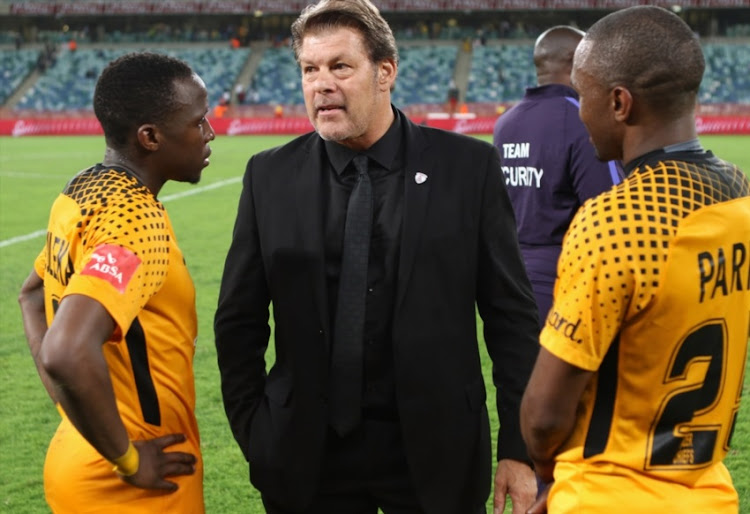 Free State Stars coach Luc Eymael and Kaizer Chiefs players.