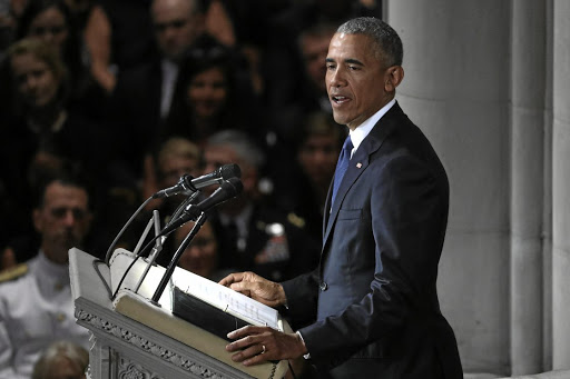 Rest in peace: Former US president Barack Obama speaks at the memorial service of US senator John McCain at National Cathedral in Washington on Saturday. The 81-year-old former prisoner of war has been lionised from all quarters since his death last week. Picture: REUTERS