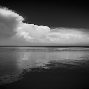 Cloudy by Dmitriy Yanushevichus - Black & White Landscapes ( abstract, water, clouds, black and white, sea, ocean, seascape, landscape )