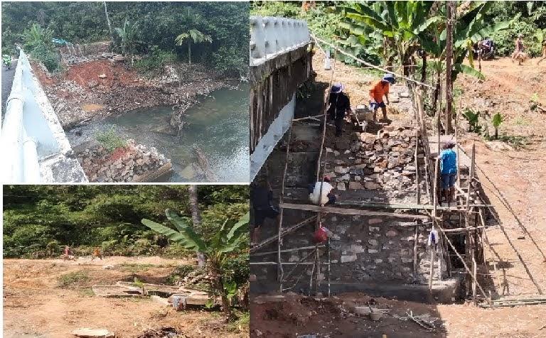 Pengerjaan Proyek Jembatan Tiang Tanjung Gunakan Bahan Material Bekas : Pengawas Proyek Tutup Mata
