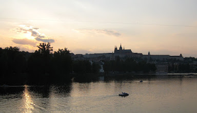 Photo: Prague Castle overlooking the Vltava River at sunset