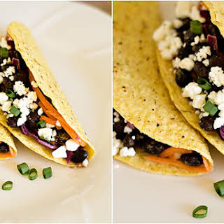 Black Bean Tacos with Red Cabbage Slaw.