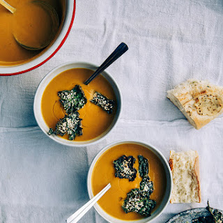 "Kabocha Squash + Roasted Chestnut Soup With Kale Sesame ""leaves""."