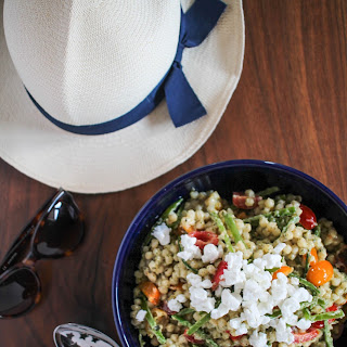 Couscous Salad with Pesto, Goat Cheese, and Veggies.