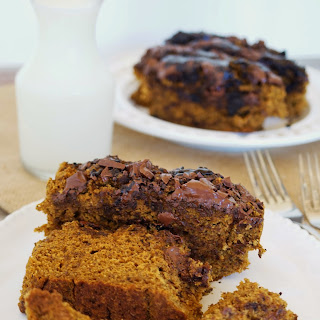 Healthy Pumpkin Bread with Chocolate Chunks.