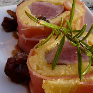 """Polenta """"Makis"""" with Lamb, Prosciutto, and Dried Fruit."""
