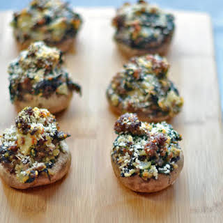 Spinach and Sausage Stuffed Mushrooms.