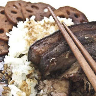 Chinese Five Spice Braised Pork Belly With Lotus Root and Steamed Yucca