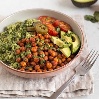 Quinoa And Roasted Chickpea Vegan Burrito Bowls.