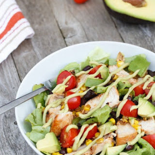 BBQ Chicken Salad with Avocado Dressing.