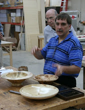 Photo: Tim Aley shows off two large maple bowls (not the chestnut one immediately in front of him).