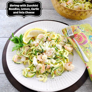 5 Ingredient Shrimp with Zucchini Noodles, Lemon, Garlic, and Feta Cheese.
