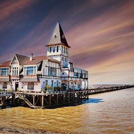 Club De Pescadores,Buenos Aires  by Nelida Dot - Buildings & Architecture Public & Historical ( buenos aires, argentina, sunset, restaurant, tourism, building, architecture )