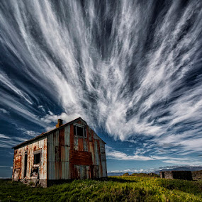 Rusty Cabin by Þorsteinn H. Ingibergsson - Landscapes Cloud Formations ( clouds, cabin, iceland, sky, nature, structor, old building, landscape, abandoned )