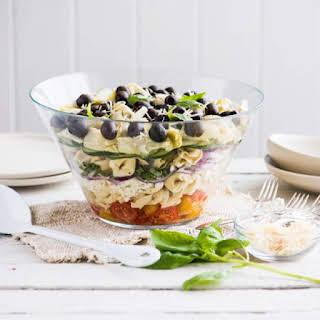 Layered Mediterranean Tortellini Salad.