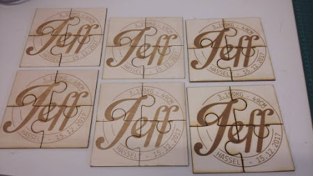 Geboorte - Puzzelstukken voor de doop van Jeff - gravure op basis van de uitnodiging