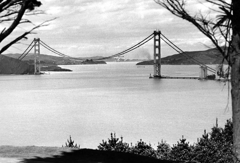 Photo: The Golden Gate bridge, during its construction in May of 1936. (OFF/AFP/Getty Images)