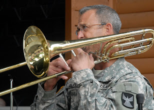 Photo: Staff Sgt. Bruce Alpern played the trombone during the 34th Red Bull Infantry Division Band's performance at the Minnesota State Fair's Military Appreciation Day Aug. 30, 2011 in St. Paul, Minn.