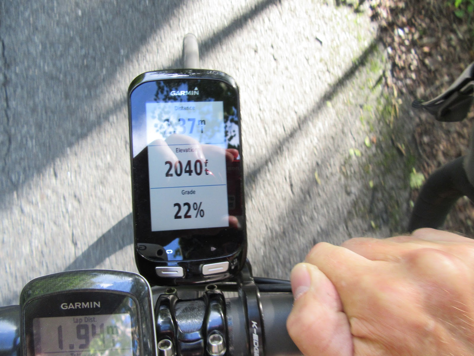 Bicycle climb of Burke Mountain - Garmin reading 22%