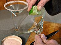 For glasses mix sugar and salt. Rim glasses with lime and dip in mix.