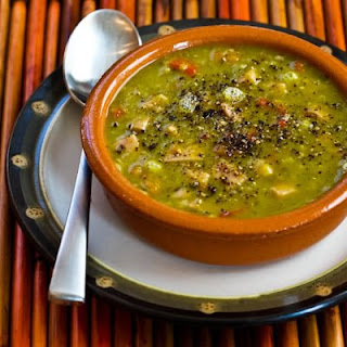 Split Pea Soup with Ham, Bay Leaves, Epazote, and Red Bell Pepper (or Carrots)