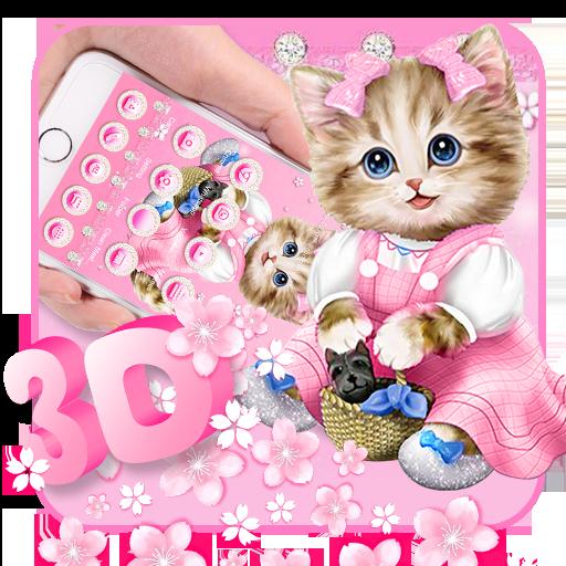Pink Cute Cartoon Cat Gravity Theme Aplikasi Di Google Play