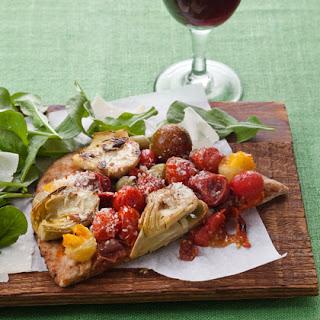 Roasted Tomato and Artichoke Flatbread Pizza.